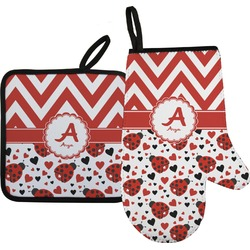 Ladybugs & Chevron Oven Mitt & Pot Holder (Personalized)