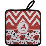 Ladybugs & Chevron Pot Holder w/ Name and Initial