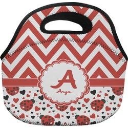 Ladybugs & Chevron Lunch Bag (Personalized)