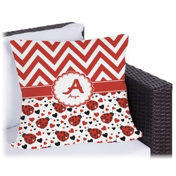 Ladybugs & Chevron Outdoor Pillow (Personalized)