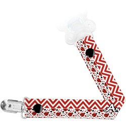 Ladybugs & Chevron Pacifier Clips (Personalized)