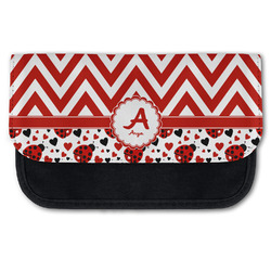 Ladybugs & Chevron Canvas Pencil Case w/ Name and Initial