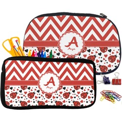 Ladybugs & Chevron Pencil / School Supplies Bag (Personalized)