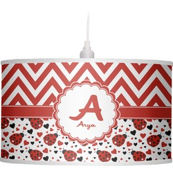 Ladybugs & Chevron Drum Pendant Lamp (Personalized)