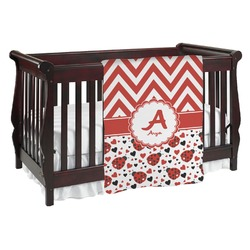 Ladybugs & Chevron Baby Blanket (Personalized)