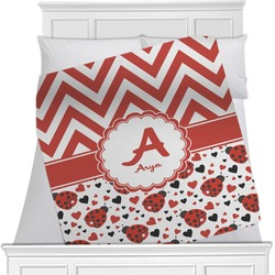 Ladybugs & Chevron Minky Blanket (Personalized)