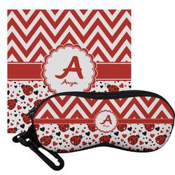 Ladybugs & Chevron Eyeglass Case & Cloth (Personalized)