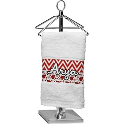 Ladybugs & Chevron Finger Tip Towel (Personalized)