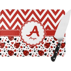 Ladybugs & Chevron Rectangular Glass Cutting Board (Personalized)