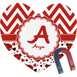 Ladybugs & Chevron Heart Fridge Magnet (Personalized)