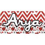 Ladybugs & Chevron Mini / Bicycle License Plate (4 Holes) (Personalized)