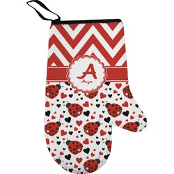 Ladybugs & Chevron Right Oven Mitt (Personalized)