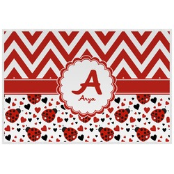 Ladybugs & Chevron Laminated Placemat w/ Name and Initial