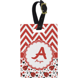 Ladybugs & Chevron Rectangular Luggage Tag (Personalized)