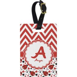 Ladybugs & Chevron Rectangular Luggage Tag (Personalized)