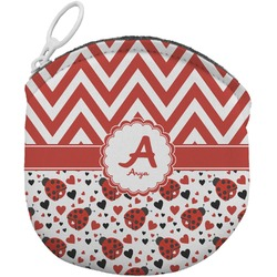 Ladybugs & Chevron Round Coin Purse (Personalized)