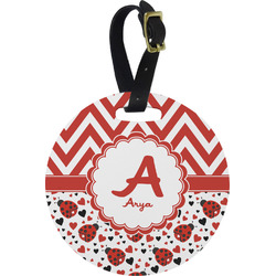 Ladybugs & Chevron Round Luggage Tag (Personalized)