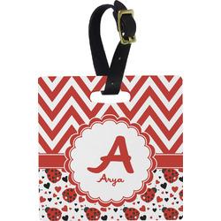 Ladybugs & Chevron Square Luggage Tag (Personalized)