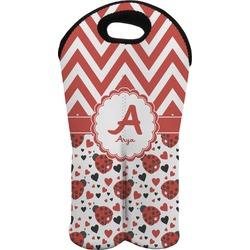 Ladybugs & Chevron Wine Tote Bag (2 Bottles) (Personalized)