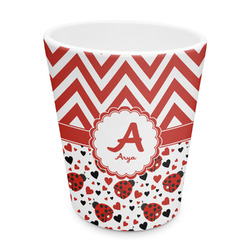 Ladybugs & Chevron Plastic Tumbler 6oz (Personalized)