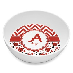 Ladybugs & Chevron Melamine Bowl 8oz (Personalized)