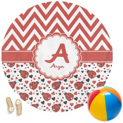 Ladybugs & Chevron Round Beach Towel (Personalized)