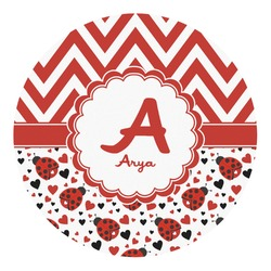 Ladybugs & Chevron Round Decal - Custom Size (Personalized)