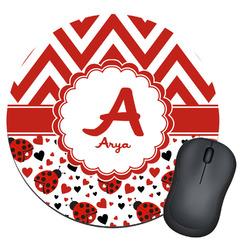 Ladybugs & Chevron Round Mouse Pad (Personalized)
