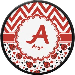 Ladybugs & Chevron Round Trailer Hitch Cover (Personalized)