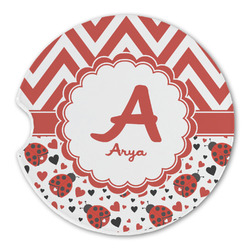 Ladybugs & Chevron Sandstone Car Coaster - Single (Personalized)