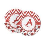 Ladybugs & Chevron Sandstone Car Coasters (Personalized)