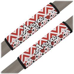 Ladybugs & Chevron Seat Belt Covers (Set of 2) (Personalized)