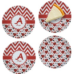 "Ladybugs & Chevron Set of 4 Glass Appetizer / Dessert Plate 8"" (Personalized)"