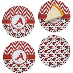 Ladybugs & Chevron Set of Appetizer / Dessert Plates (Personalized)
