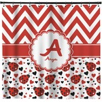 Ladybugs & Chevron Shower Curtain (Personalized)