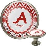Ladybugs & Chevron Cabinet Knob (Silver) (Personalized)