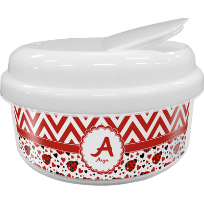 Ladybugs & Chevron Snack Container (Personalized)