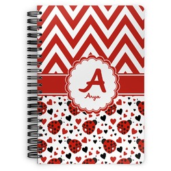 Ladybugs & Chevron Spiral Bound Notebook (Personalized)