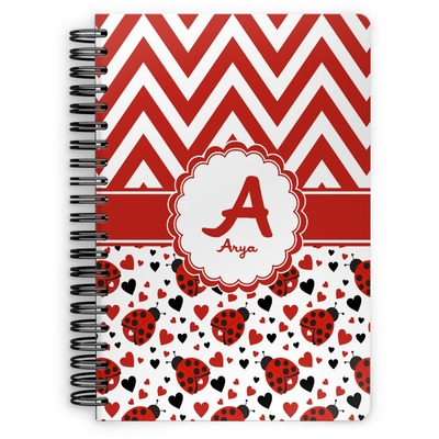 Ladybugs & Chevron Spiral Bound Notebook (Personalized)