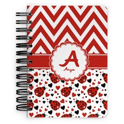 Ladybugs & Chevron Spiral Bound Notebook - 5x7 (Personalized)