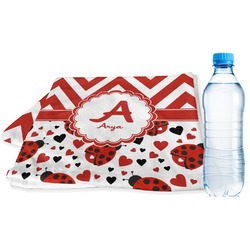 Ladybugs & Chevron Sports Towel (Personalized)