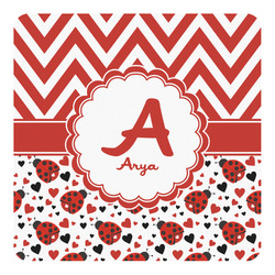 Ladybugs & Chevron Square Decal - Custom Size (Personalized)