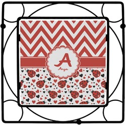 Ladybugs & Chevron Square Trivet (Personalized)
