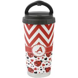 Ladybugs & Chevron Stainless Steel Travel Mug (Personalized)