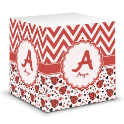 Ladybugs & Chevron Sticky Note Cube (Personalized)