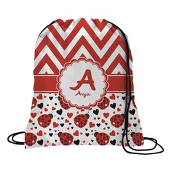 Ladybugs & Chevron Drawstring Backpack (Personalized)