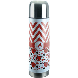 Ladybugs & Chevron Stainless Steel Thermos (Personalized)