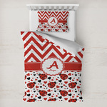 Ladybugs & Chevron Toddler Bedding w/ Name and Initial