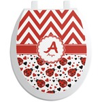 Ladybugs & Chevron Toilet Seat Decal (Personalized)
