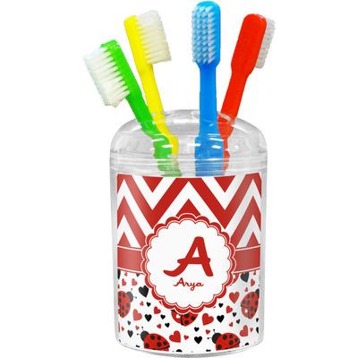 Ladybugs & Chevron Toothbrush Holder (Personalized)
